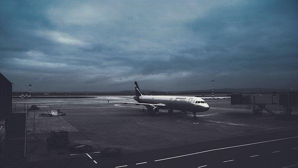 Airport, Vnukovo, Plane, Terminal, Blue, The Gloom