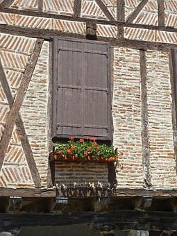 Window, Closed, Half Timbered, Flowers, Facade