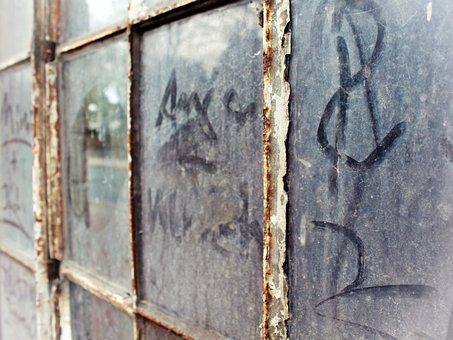 Window, Glass, Window Glass, Old, Dusty, Font