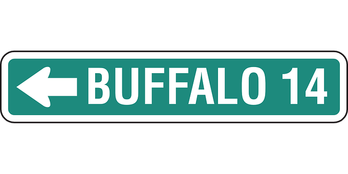 Buffalo, Ahead, 14 Miles, Distance, Sign, Road Sign