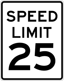 Sign, Speed Limit, 25 Miles, Road Sign, Roadsign
