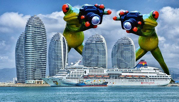 Frogs, Photographer, Giant, Funny, Cruise Ship, Ship