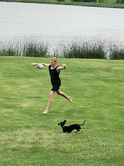 Leap Year, Dog And Boy, Fun Outdoors, Young, Boy, Dog
