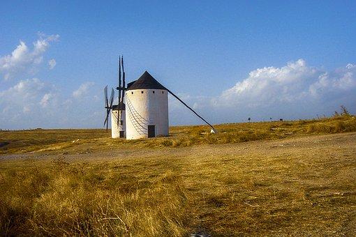 Landscape, Hill, Mills, Sky