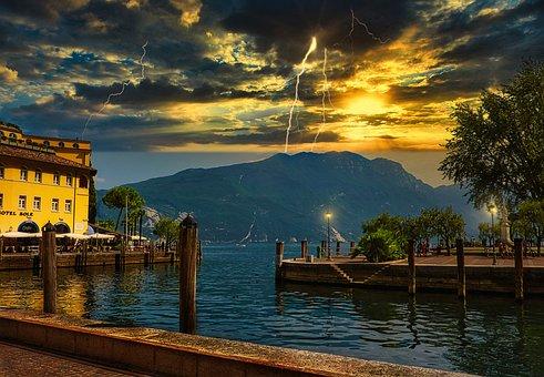 Garda, Riva, Thunderstorm, Italy, Landscape, Sky