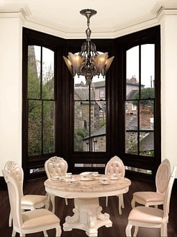 Dining, Room, Table, Chairs, Window, Bay, Overlooking