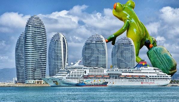 Frog, Travel, Luggage, Giant, Funny, Cruise Ship, Ship