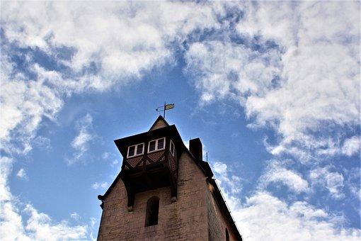 Tower, Bay Window, Sky, Clouds
