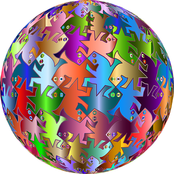 M C Escher, Sphere, Orb, Seamless, Tessellation