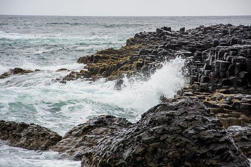 The Giants, Ireland, Sea, Rocks, Basalt