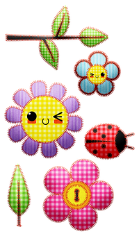 Gingham Flowers, Stitched, Leaf, Embroidery, Crochet
