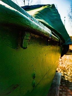 Boat, Green, Masuria, The Reins, Old, Screw, Drape
