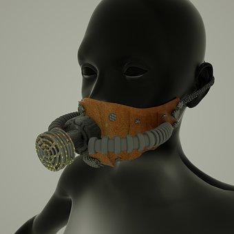Mask, Gas Mask, Woman, Pollution, Radiation, Dark, Risk
