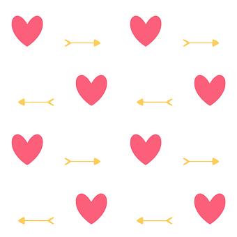 Hearts, Heart, Arrow, Love, Seamlessly, Pattern