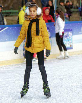 Girl, Nice, Child, Person, Skating, Winter, Ice