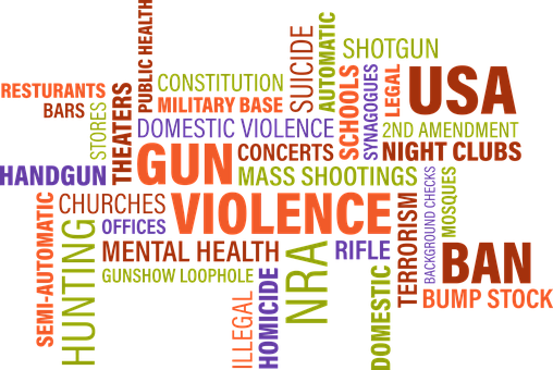 Word Cloud, Gun Violence, United States, Domestic
