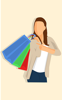 Bag, Hold, Shopping, White, Woman, Young