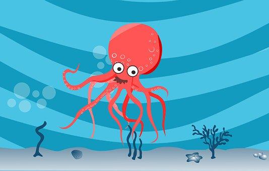 Underwater, Octopus, Sea, Rock, Scene, Fish, Aqua
