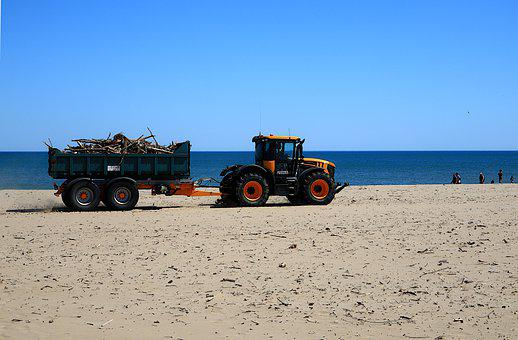 Tractor, Trailer, Beach, Cleaning, Wood, Sea, Ocean