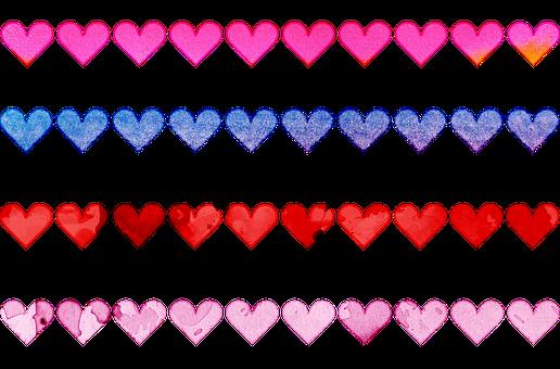 Heart Border, Colorful, Watercolor, Fabric, Border