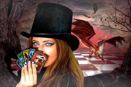 Women, Hat, Fantasy, Creatures, Monsters Beasts, Dragon