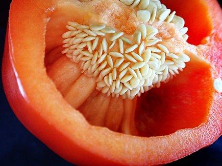 Vegetable, Red, Capsicum, Seeds, Cooking, Salad