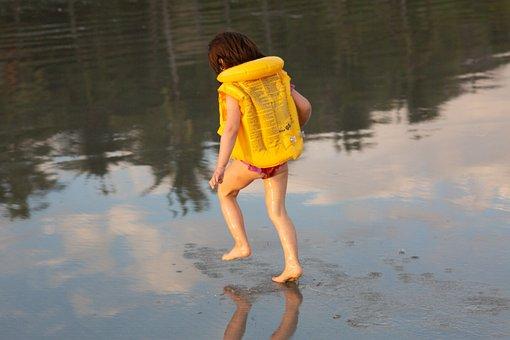 Beach, Reflection, Toddler In Life Jacket, Ocean