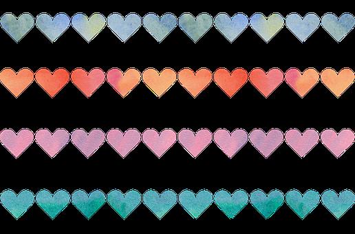 Watercolor Heart Border, Colorful, Watercolor, Fabric
