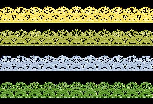 Lace Border, Colorful, Watercolor, Fabric, Border