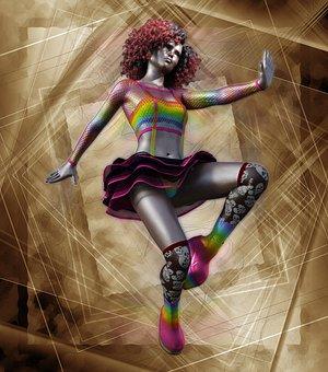 Carnival, Art, Metal, Body Painted, Gold, Woman, Girl