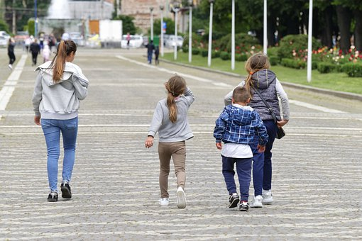 People, Women, Kids, Going, Alley, Park, Spring, Nature