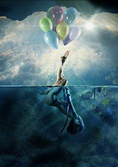 Balloon, Marine, Woman, Nature, Sky, Background