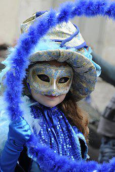 Venetian, Blue, Carnival, Colorful, Costume, Festival