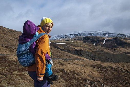 Iceland, Rock, Snow, Woman, Child