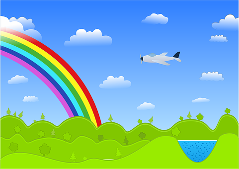 Vector, Landscape, Rainbow, Plane, Color, Green, Blue