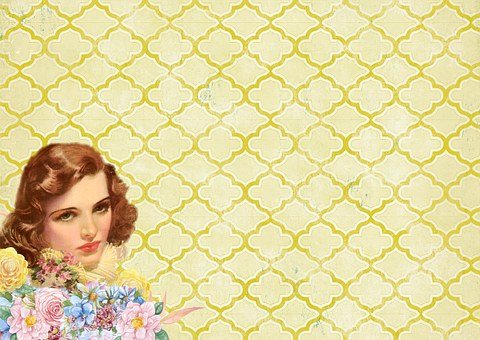 Background, Banner, Vintage, Lady, Girl, Fifties, Retro