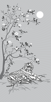 Asian, Design, Tiger, Tree, Flowers