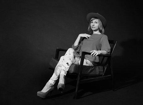 Portrait, Monochrome, Black-and-white Photograph, Woman