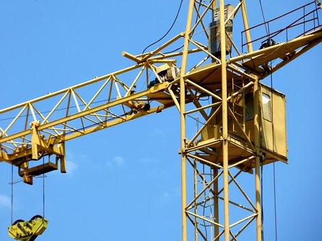 Tower Crane, Blue Sky, White Clouds, Technique