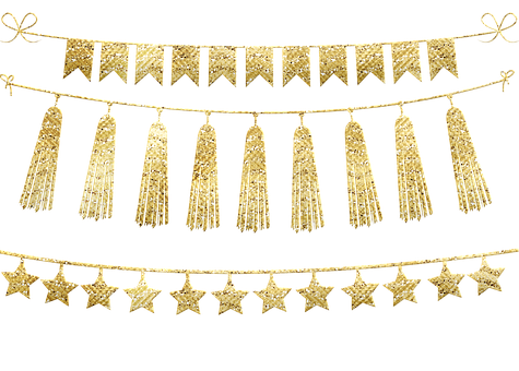 Bunting, Stars, Tassel Gold Foil Labels, Borders