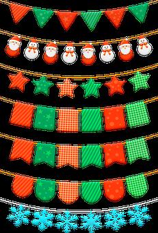 Christmas, Bunting, Banners, Tassel, Garland, Pastel