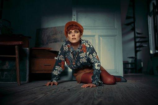 Sadness, Woman, Blue, Red, Floor, House, Door