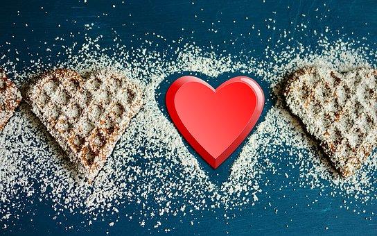 Food, Cookie, Cake, Heart, Red Heart, Food Love