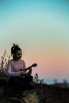 Ukulele, Girl, Smile, Sad, Life, Guitar, Photoshoot