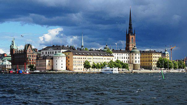 Stockholm, Sweden, Building, Water, City, Clouds
