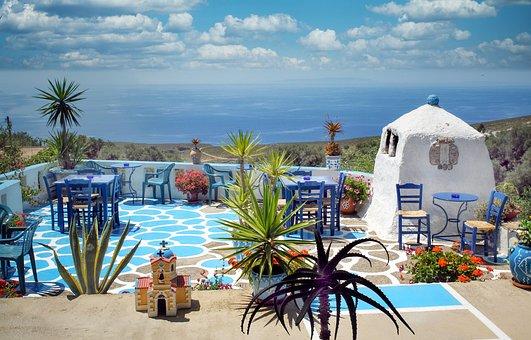 Architecture, Terrace, Crete, Greece, Tavern, Vacations