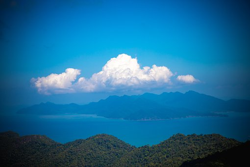 Clouds, View, Turquoise, Blue, Green, Sea, Ocean, Wide