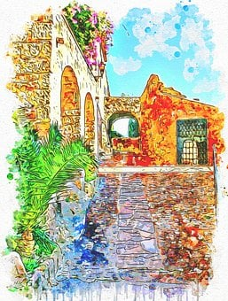 Medieval, Old, Town, House, Flowers