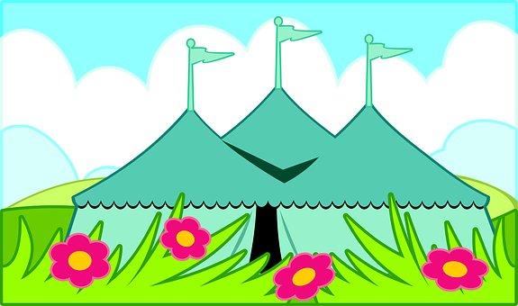 Flag, Fun, Carnival, Park, Summer, Tent, Field, Grass