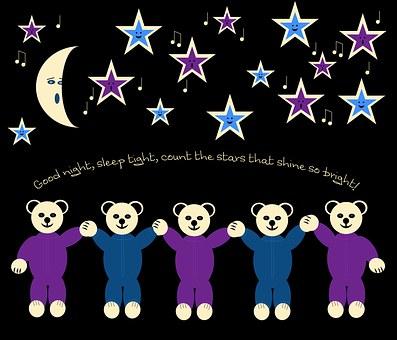 Bear, Teddy, Night, Moon, Star, Good Night, Sleep Tight